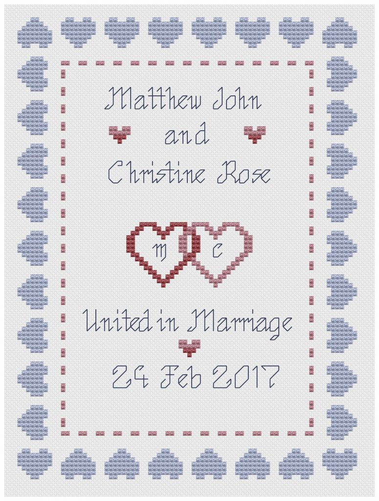 Hearts Wedding Sampler blue