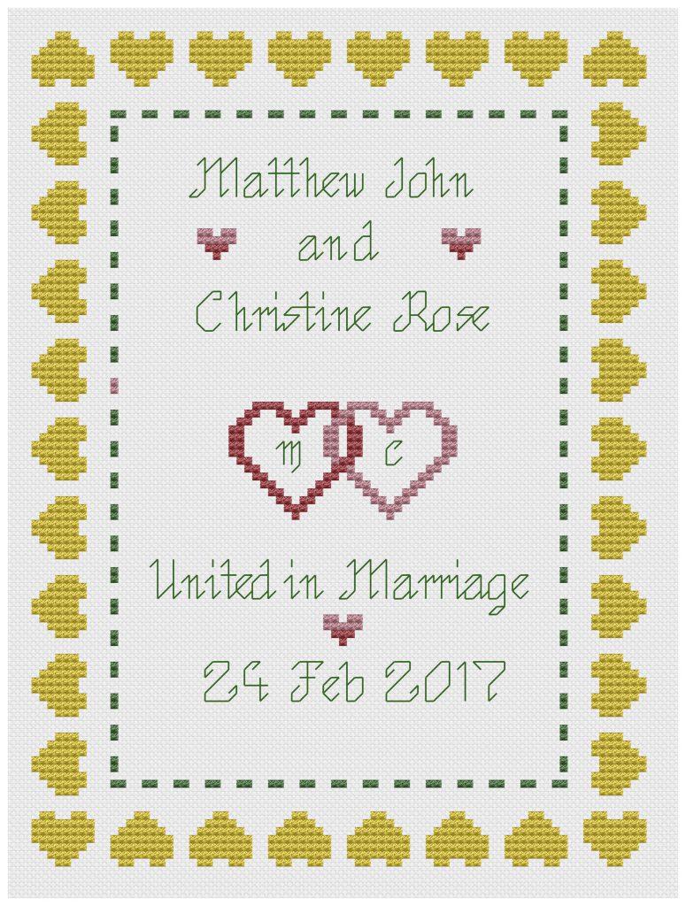 Hearts Wedding Sampler yellow